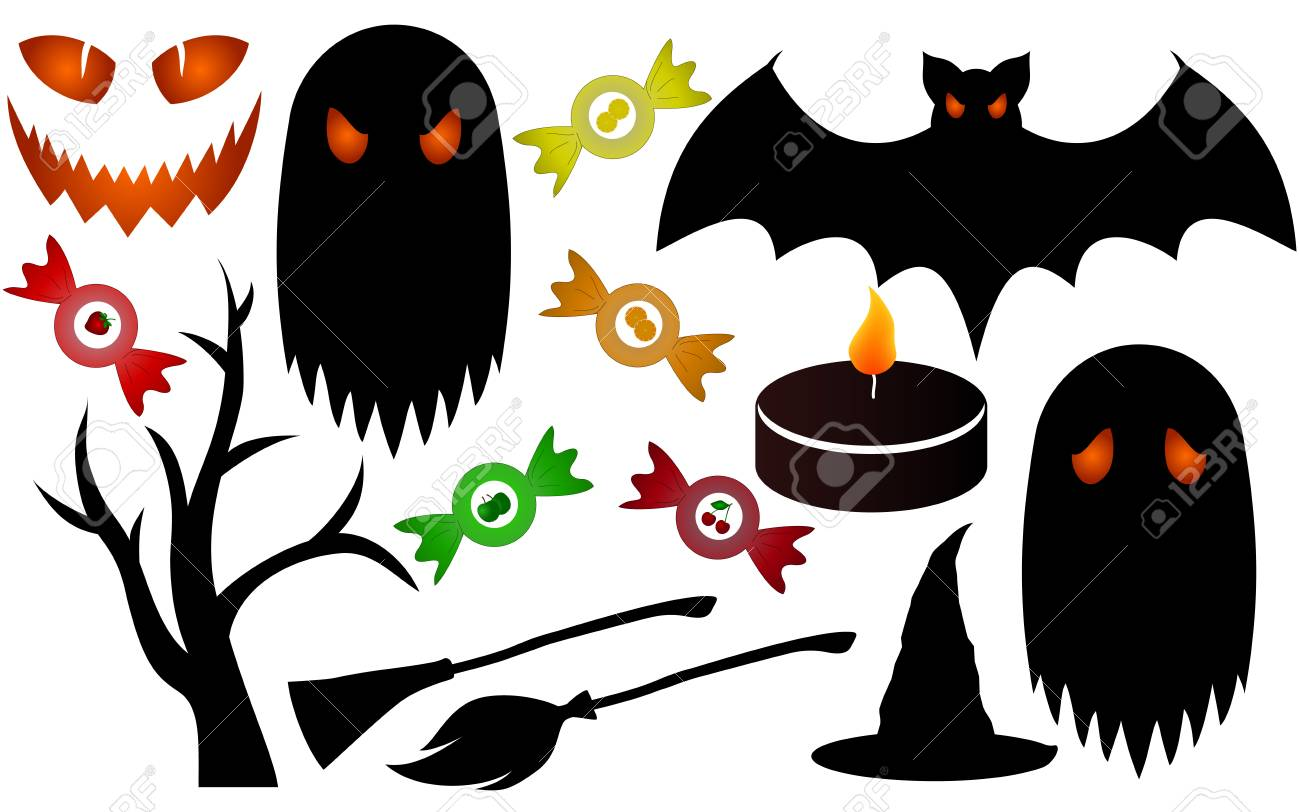 haloween isolated silhouettes, colored halloween set royalty free