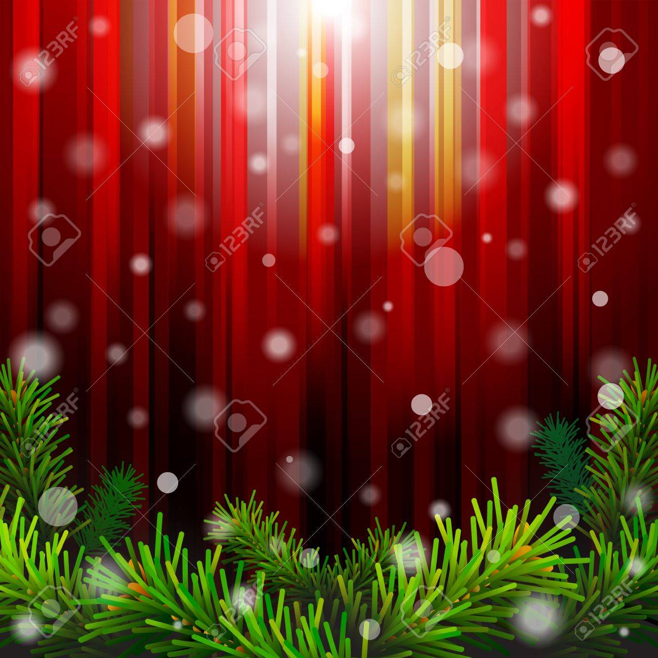 christmas red background with pine branches against lighting new year backdrop with falling snow qualitative vector