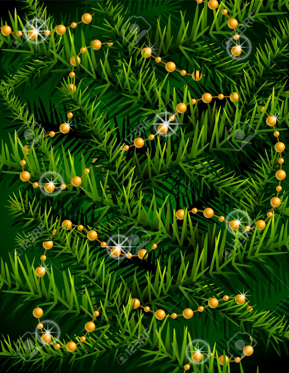 Christmas Tree Branches And Decorative Beads New Year Backdrop ...
