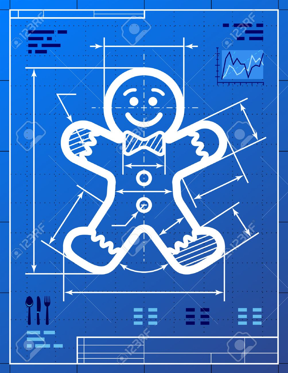 Gingerbread man symbol like blueprint drawing drafting of gingerbread man symbol like blueprint drawing drafting of gingerbread man sign on blueprint paper vector image malvernweather Gallery