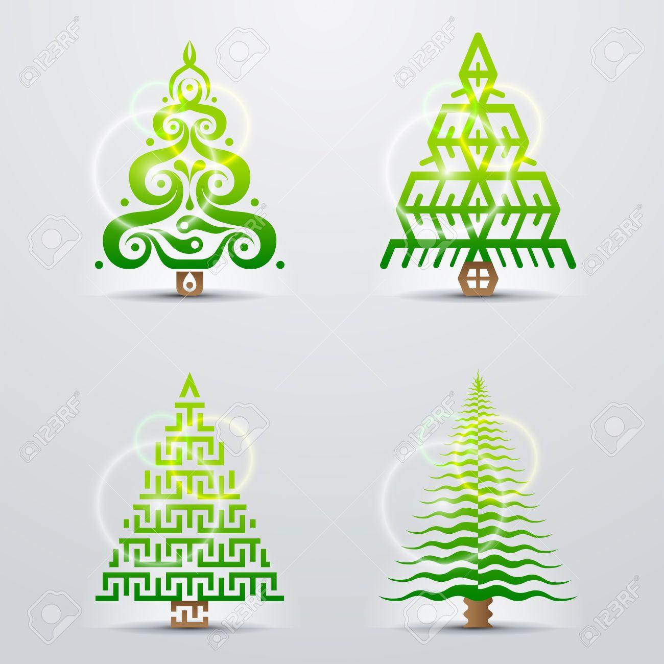 smbolos estilizados de rboles de navidad conjunto de vectores de rboles de navidad originales vector de