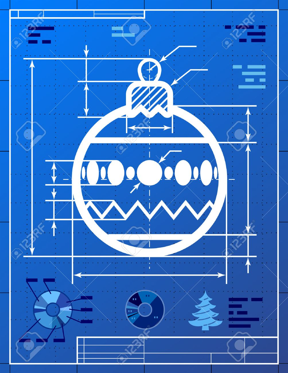 Christmas tree ball symbol like blueprint drawing stylized drawing christmas tree ball symbol like blueprint drawing stylized drawing of decoration bauble sign on blueprint paper malvernweather Gallery