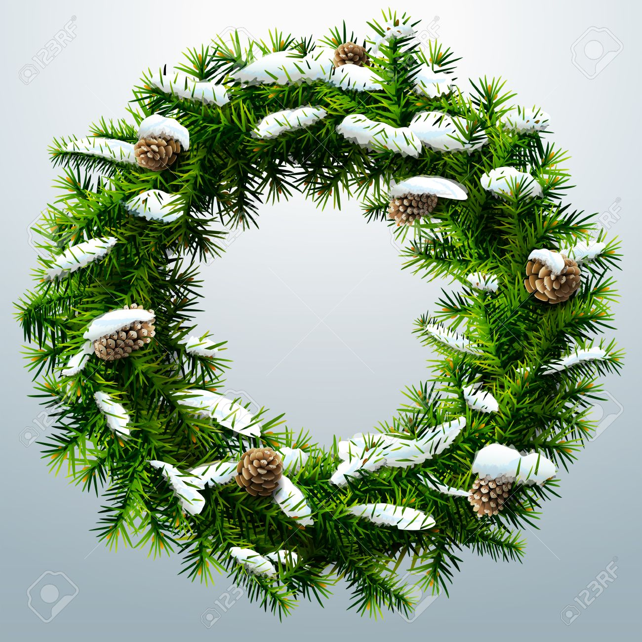 Pine Branches For Decoration Christmas Wreath With Pinecones And Snow Wreath Of Pine Branches