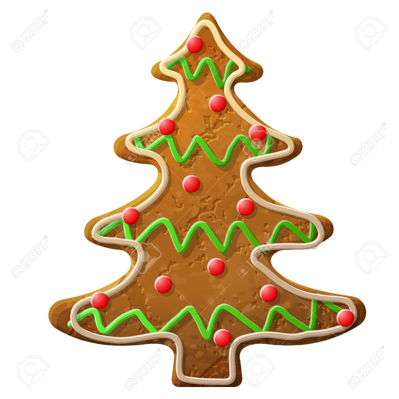 Gingerbread Christmas Tree.Gingerbread Christmas Tree Decorated Colored Icing Holiday Cookie