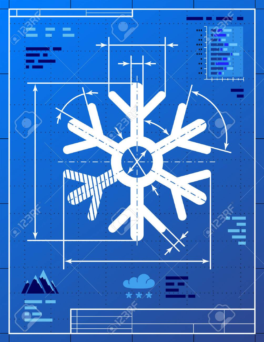 Snowflake symbol like blueprint drawing stylized drawing of snowflake symbol like blueprint drawing stylized drawing of snow sign on blueprint paper qualitative vector eps malvernweather Gallery