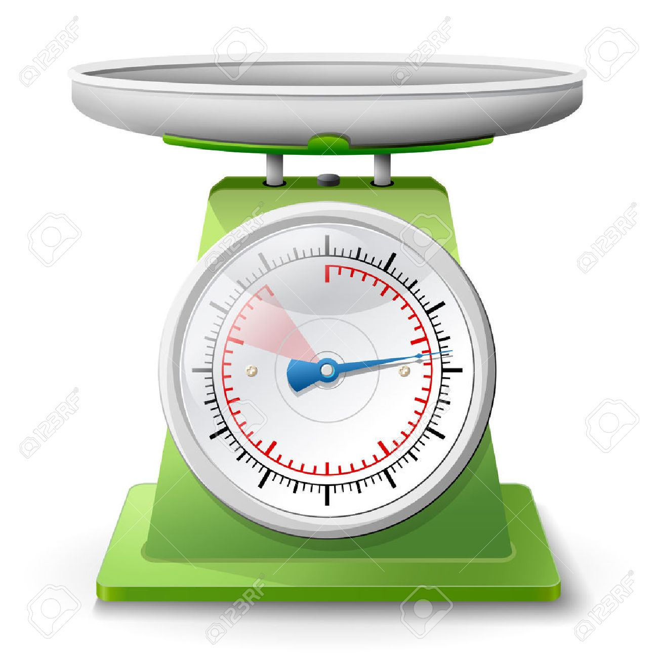 Weight scale on white background Weighing scales with pan and