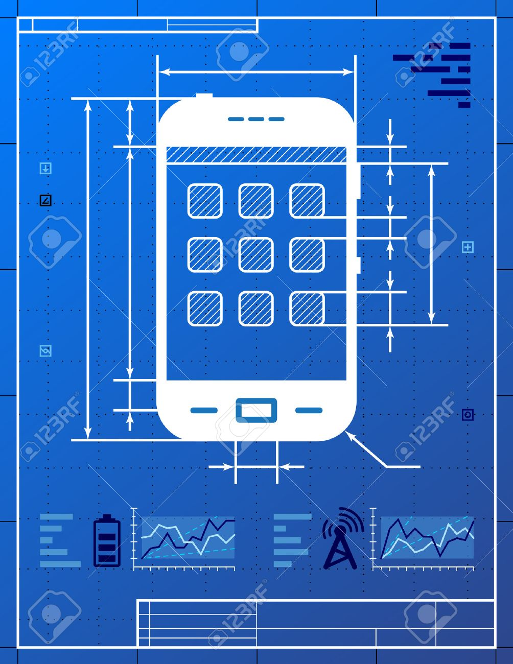 Smartphone like blueprint drawing stylized drafting of smartphone smartphone like blueprint drawing stylized drafting of smartphone on blueprint paper qualitative vector eps 10 malvernweather Image collections