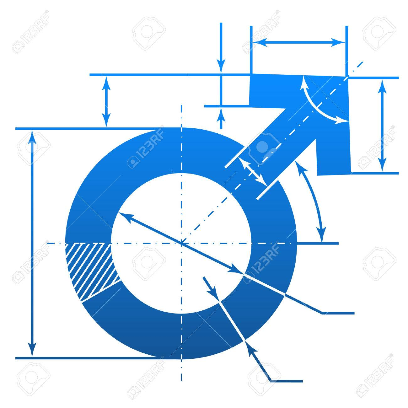 Male symbol with dimension lines element of blueprint drawing male symbol with dimension lines element of blueprint drawing in shape of man sign qualitative vector malvernweather Images