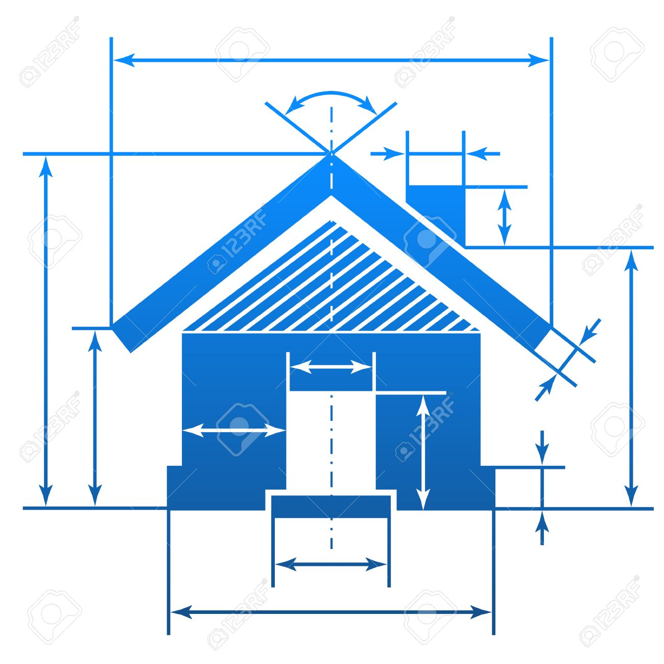 Home Symbol With Dimension Lines Element Of Blueprint Drawing In Shape House Sign Qualitative Vector
