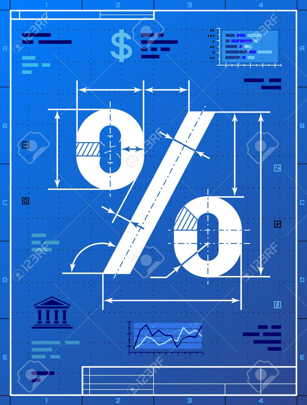 Percent sign like blueprint drawing stylized drafting of percentage percent sign like blueprint drawing stylized drafting of percentage symbol on blueprint paper qualitative vector eps malvernweather Images