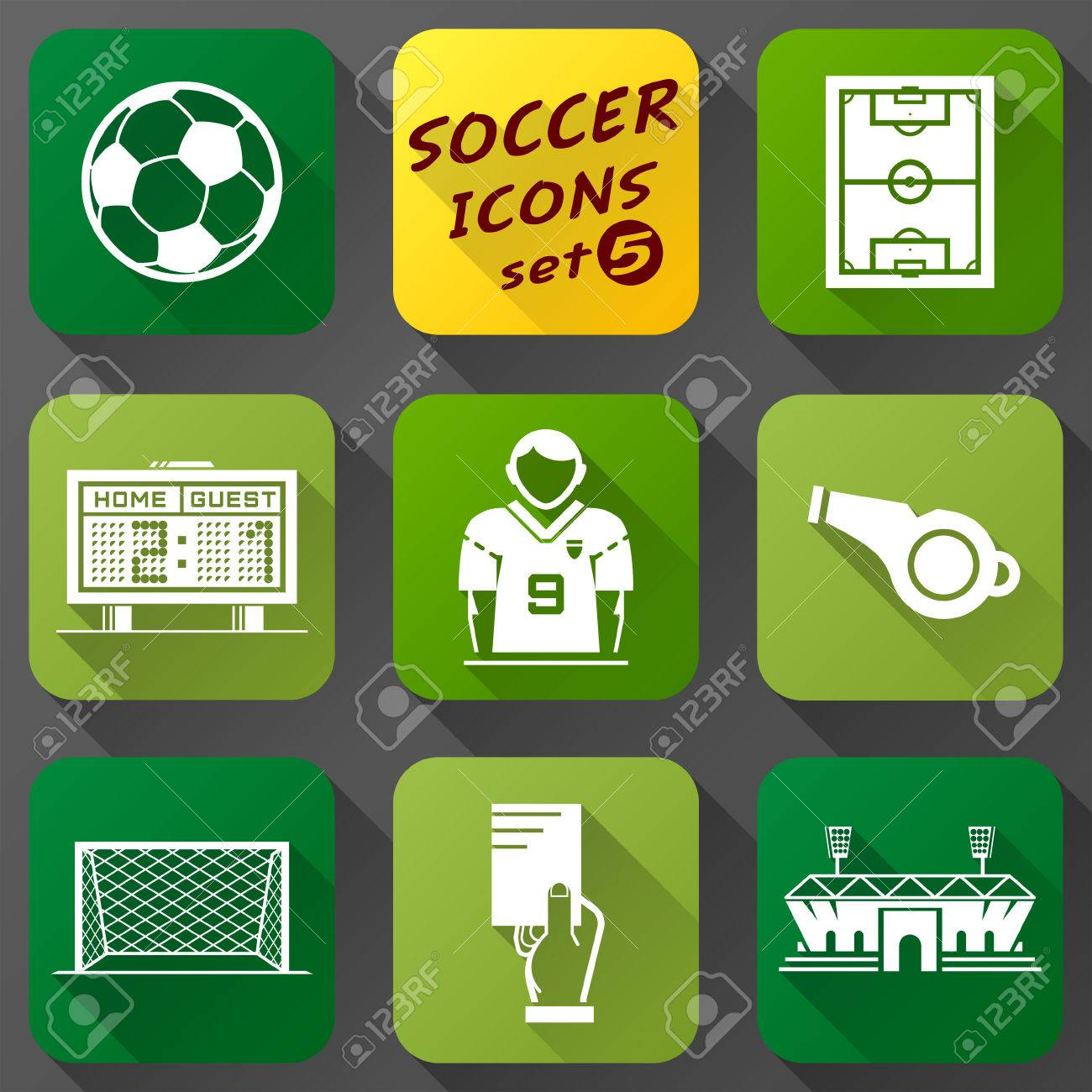 Flat icons set of soccer elements collection of symbols for flat icons set of soccer elements collection of symbols for association football qualitative vector eps buycottarizona