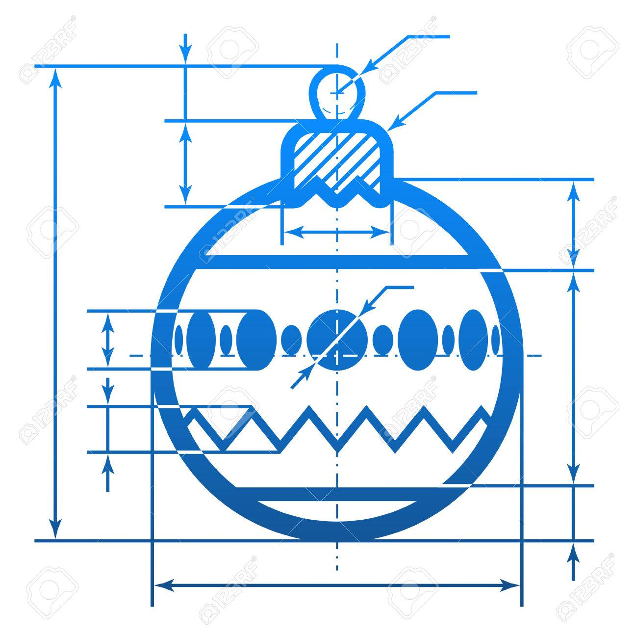 Christmas tree ball symbol with dimension lines element of new years eve silvester etc christmas tree ball symbol with dimension lines element of blueprint drawing in shape of decoration malvernweather Gallery