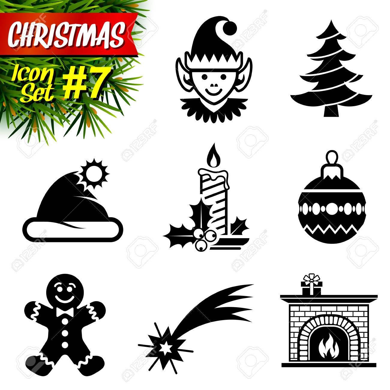Conjunto De Iconos De Navidad Blanco Y Negro Colección De Nuevos