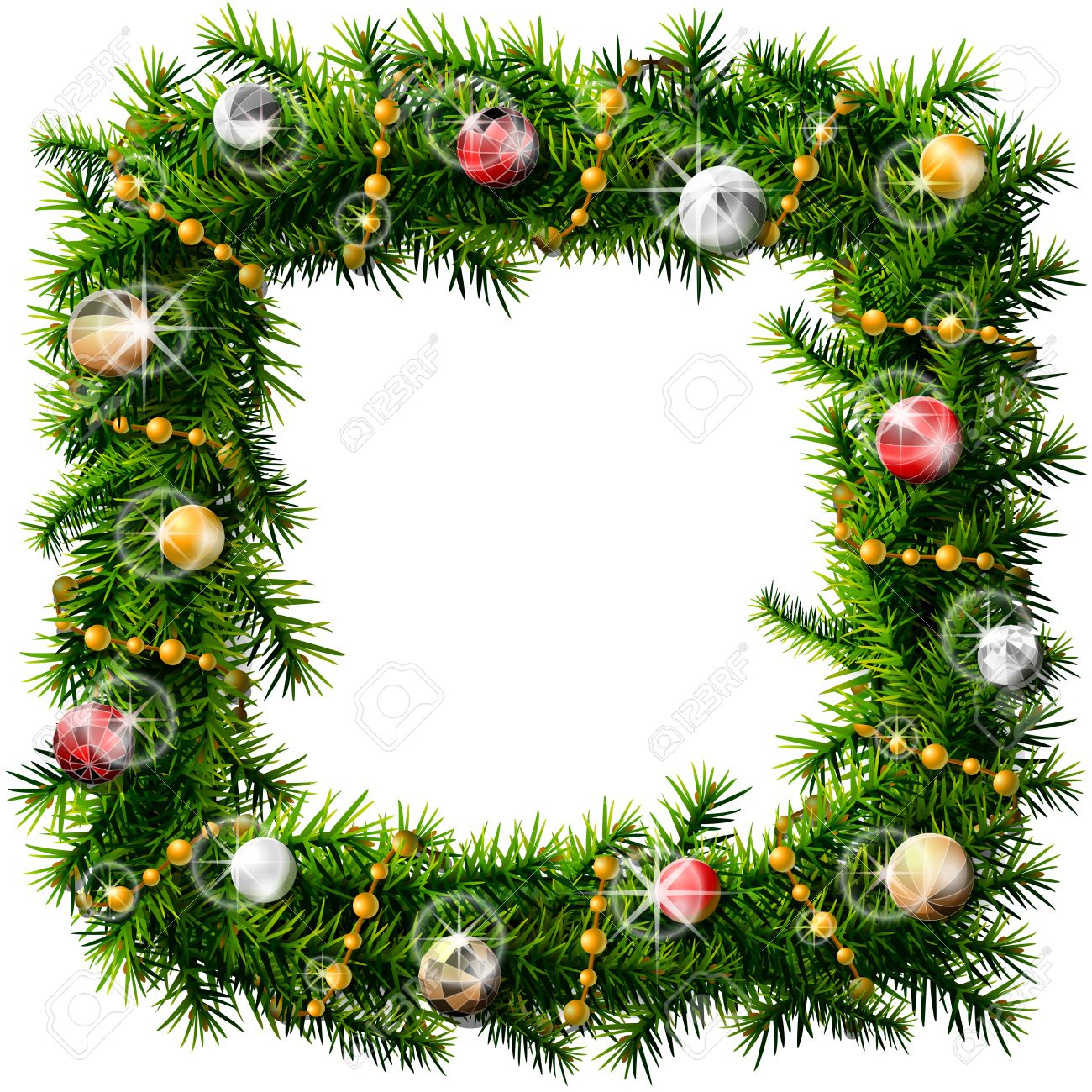 Pine Branches For Decoration Christmas Square Wreath With Decorative Beads And Balls Decorated
