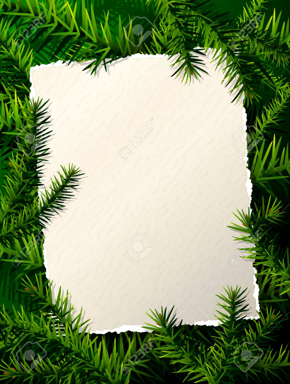 Papel Para La Lista De Navidad Contra Ramas De Pino. Plantilla De ...