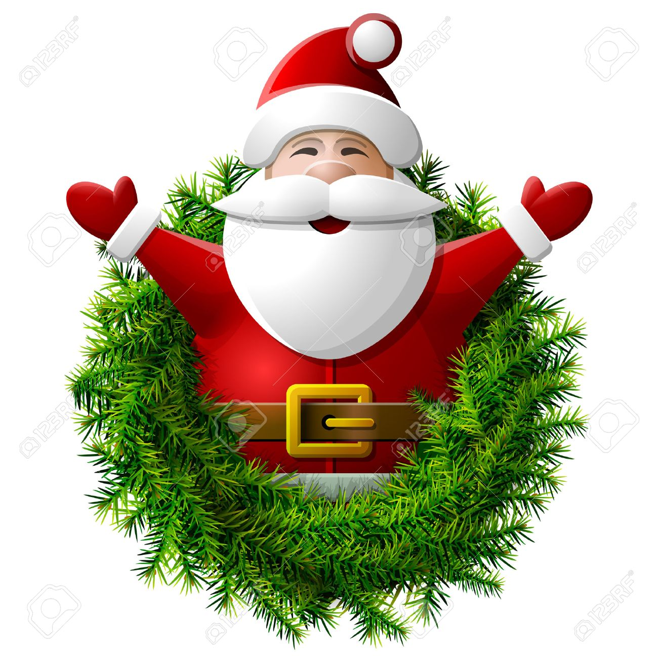 santa claus to waist with his hands up wreath of christmas tree