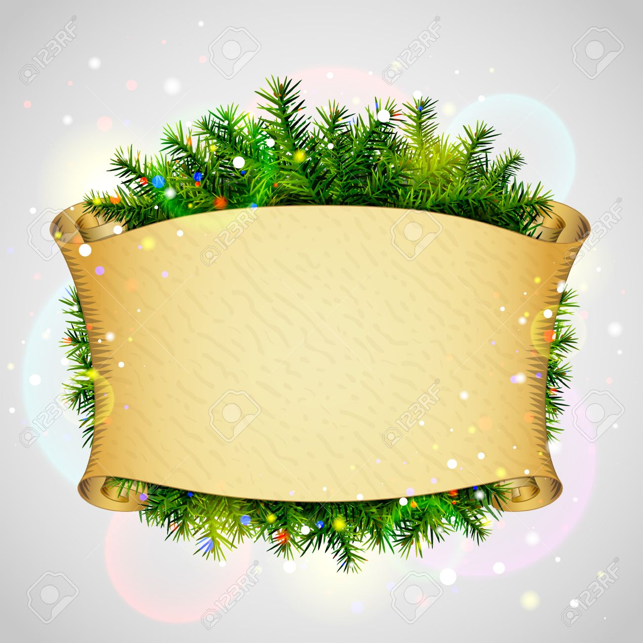 paper scroll for christmas list pine branches new year paper scroll for christmas list pine branches new year template blank parchment and