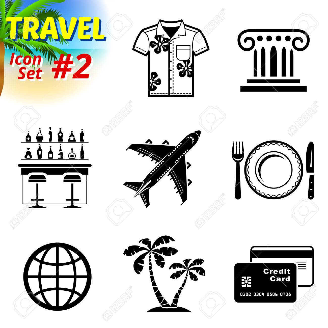 Set of black and white travel icons vector collection of symbols set of black and white travel icons vector collection of symbols for tourism buycottarizona