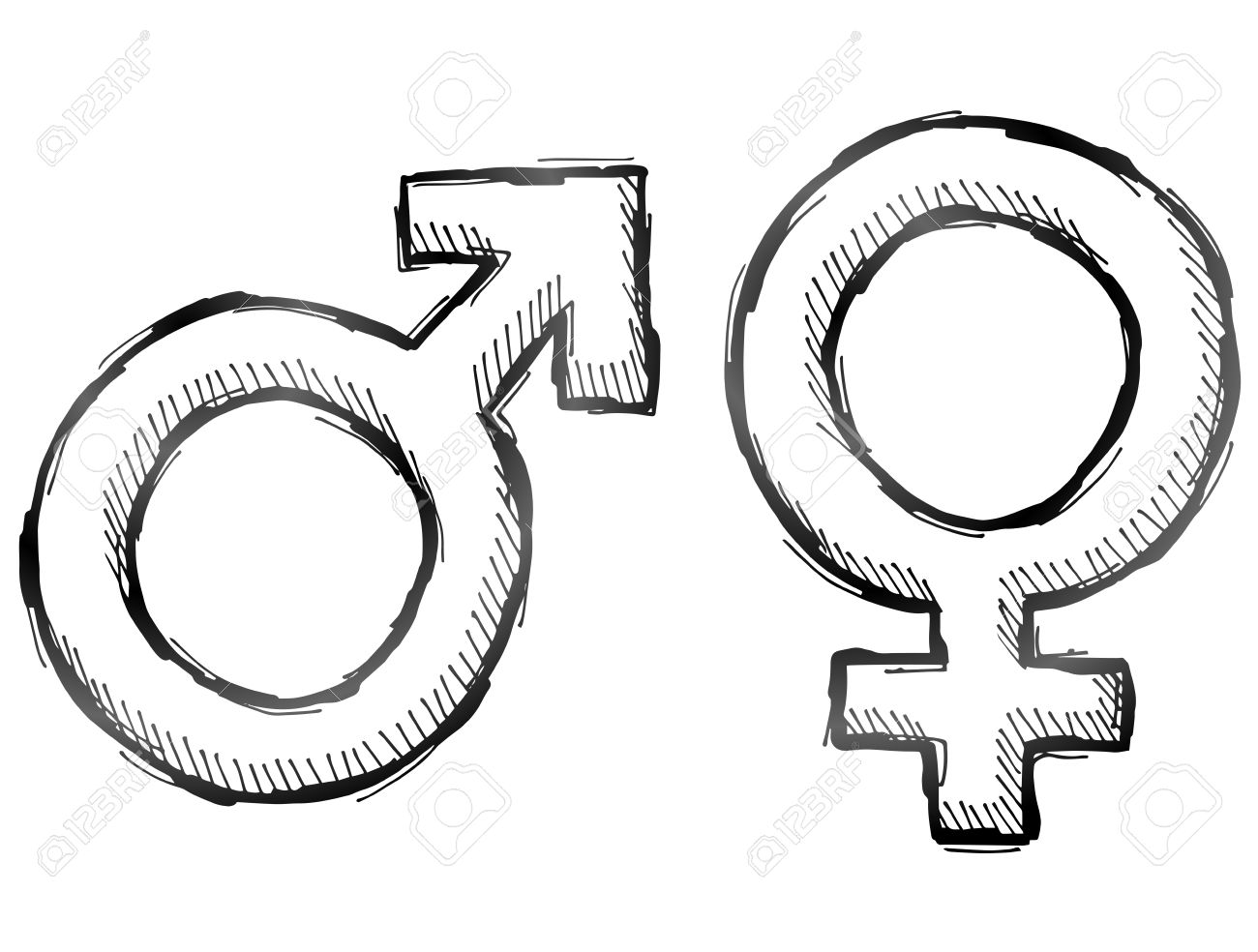 Hand Drawn Gender Symbols Sketch Of Man And Woman Signs In Doodle