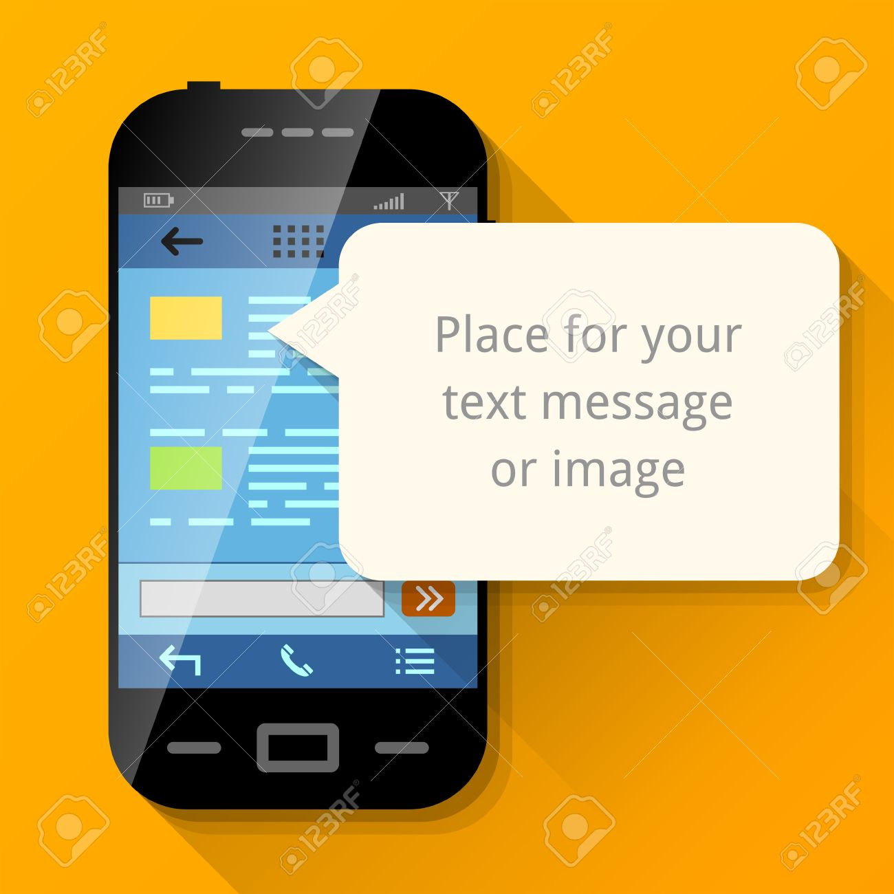smartphone with blank message bubble dialog box pop up over screen of phone qualitative
