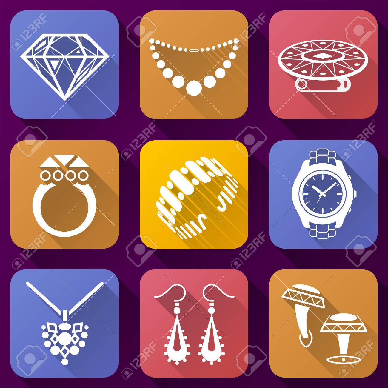 Flat Icons Set Of Jewelry Elements Collection Of Color Icons