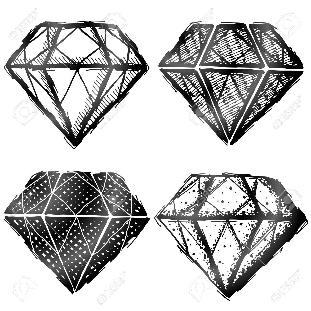 Dibujado A Mano Símbolo De Diamante Boceto De Carteles De Piedras