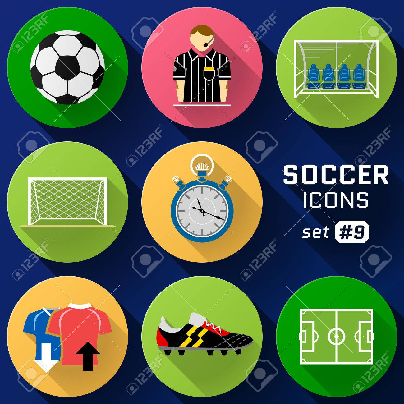 Color flat icon set of soccer elements pack of symbols for color flat icon set of soccer elements pack of symbols for association football qualitative buycottarizona