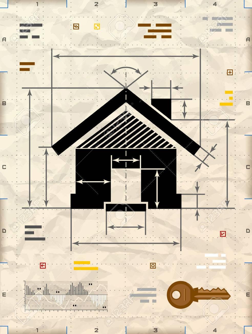 House symbol as technical blueprint drawing drafting of home house symbol as technical blueprint drawing drafting of home sign on crumpled paper qualitative malvernweather Choice Image