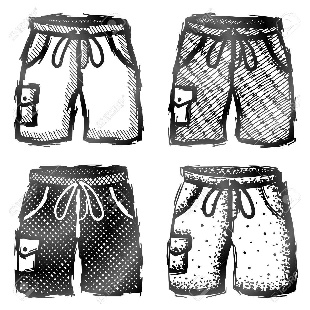 En Cualitativa DibujoIlustración Traje El BolsilloBoceto Mano Del A Baño Pantalones Con De Acerca Vectorial Estilo Dibujado La Cortos PO08wkn