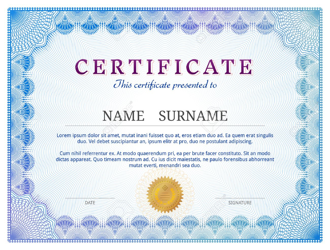 Certificate Template With Guilloche Elements. Blue Diploma Border ...