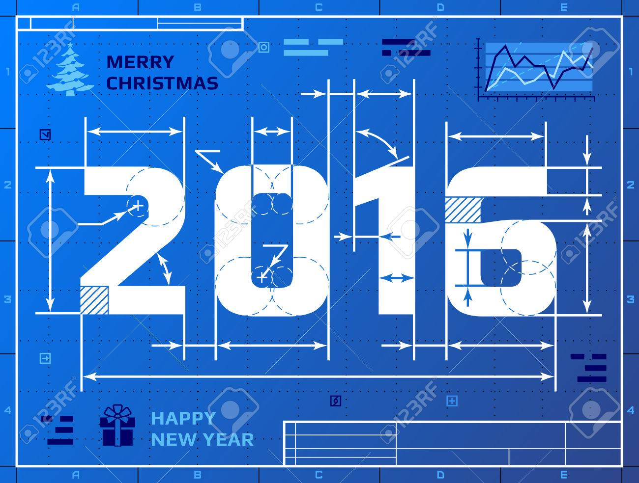 Ard of new year 2016 as blueprint drawing stylized drafting ard of new year 2016 as blueprint drawing stylized drafting of 2016 on blueprint paper malvernweather Images