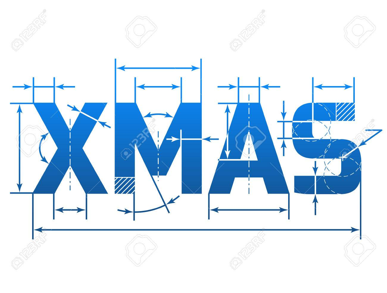 Word xmas with dimension lines element of blueprint drawing new year eve silvester etc word xmas with dimension lines element of blueprint drawing in shape of christmas qualitative malvernweather Image collections