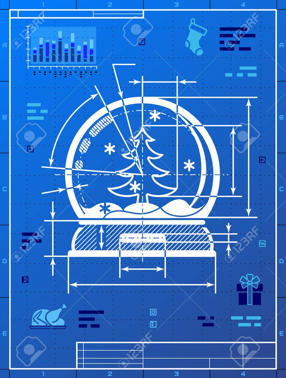 Christmas snow globe symbol as blueprint drawing stylized new year eve silvester etc christmas snow globe symbol as blueprint drawing stylized drafting of snow dome on blueprint paper malvernweather Image collections