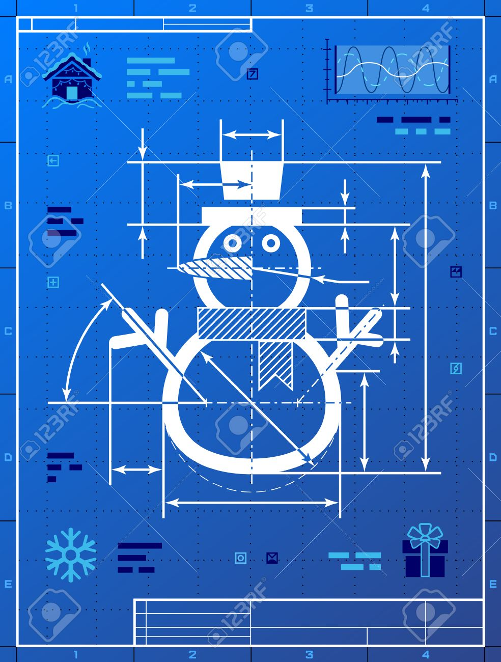Cristmas snowman symbol as blueprint drawing stylized drafting new year eve silvester etc cristmas snowman symbol as blueprint drawing stylized drafting of winter snowperson on blueprint paper malvernweather Image collections