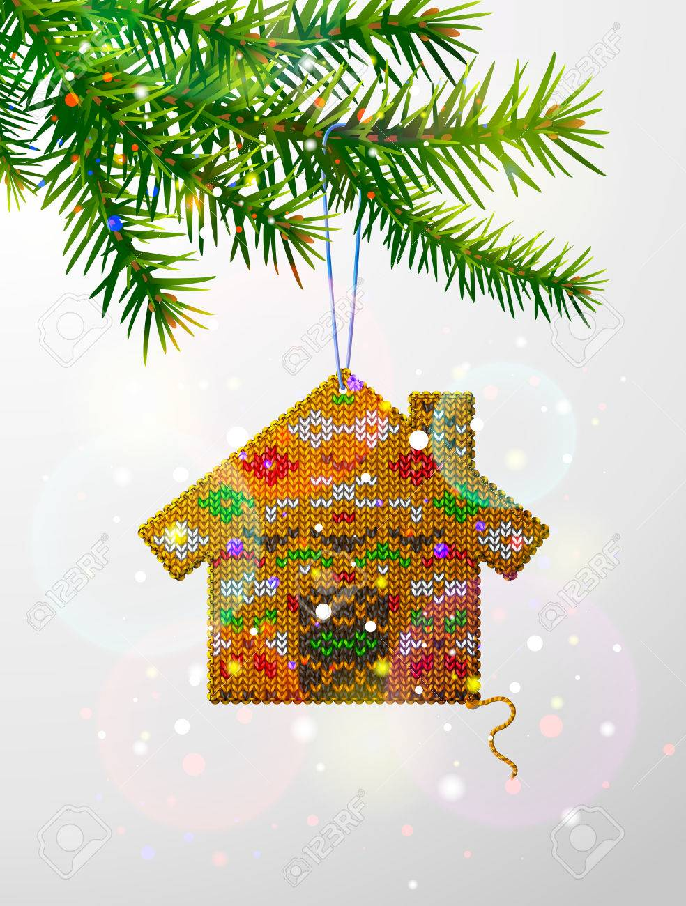 Pine Branches For Decoration Christmas Tree Branch With Decorative Knitted House Home Of