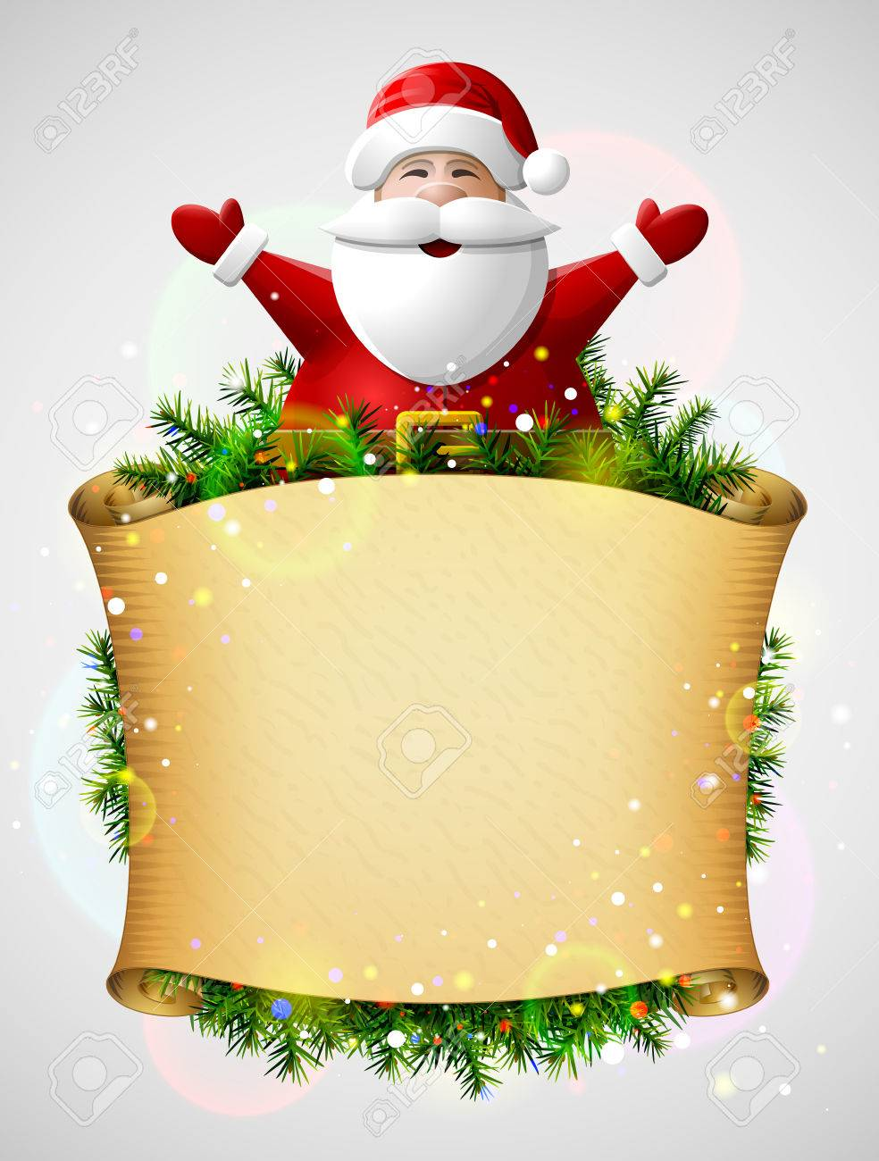 Santa Claus With His Hands Up Above Christmas Paper Scroll. New ...