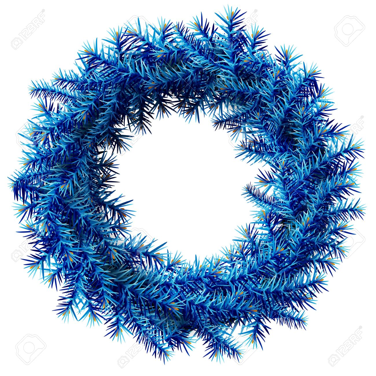christmas wreath without decoration empty wreath of blue pine branches isolated on white background - Blue Christmas Wreath