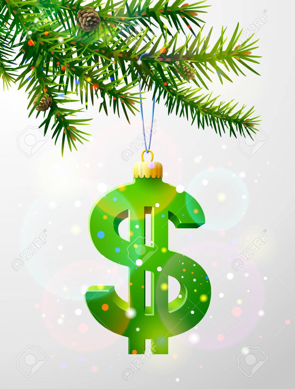 Christmas Tree Branch With Decorative Dollar Symbol. Dollar Sign ...