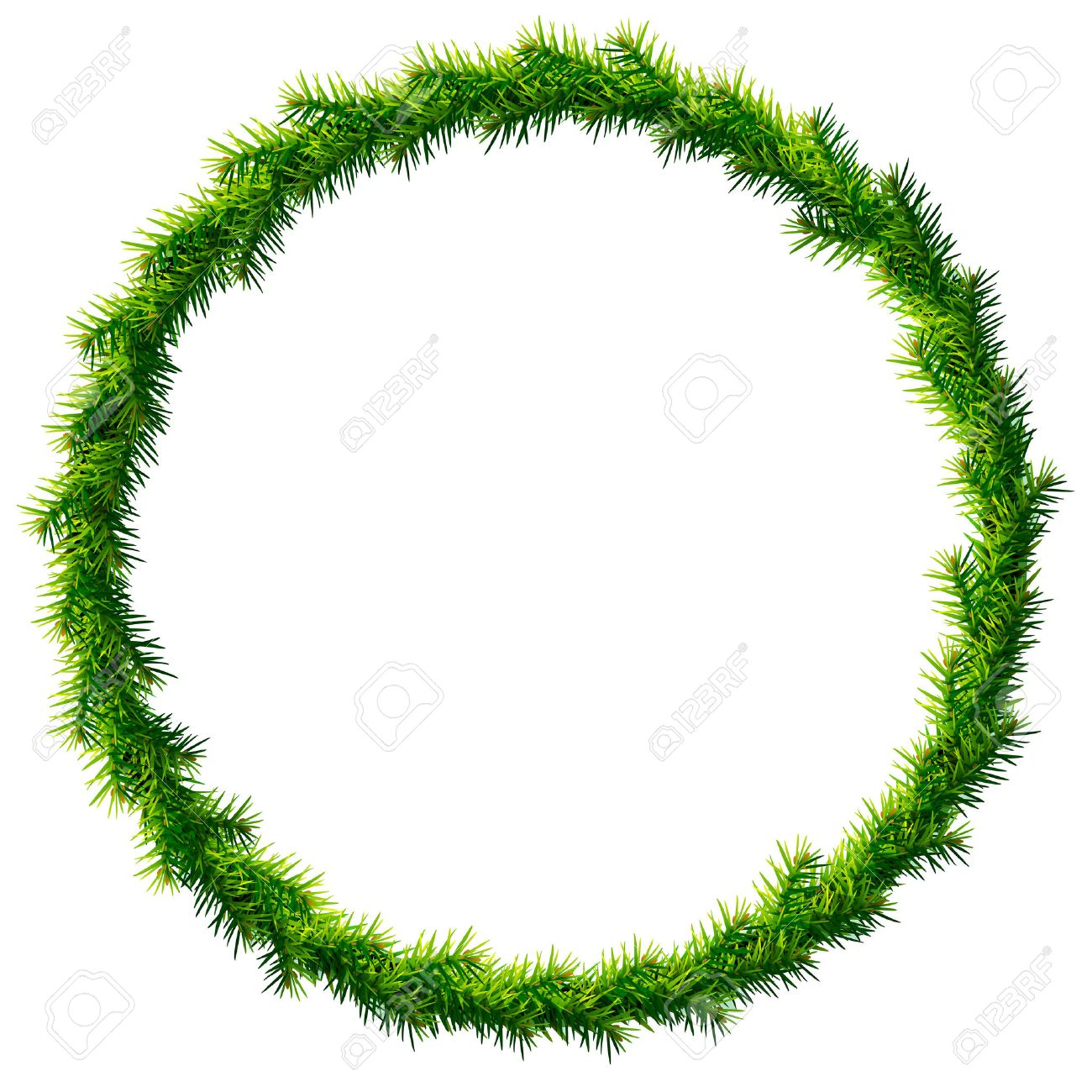 Pine Branches For Decoration Thin Christmas Wreath Without Decoration Round Frame Of Pine