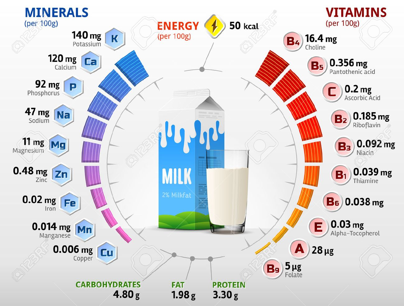 Vitamins and minerals of cow milk. Infographics about nutrients in milk with two percent fat. Qualitative vector illustration about milk, vitamins, dairy, health food, nutrients, diet, etc - 52441335