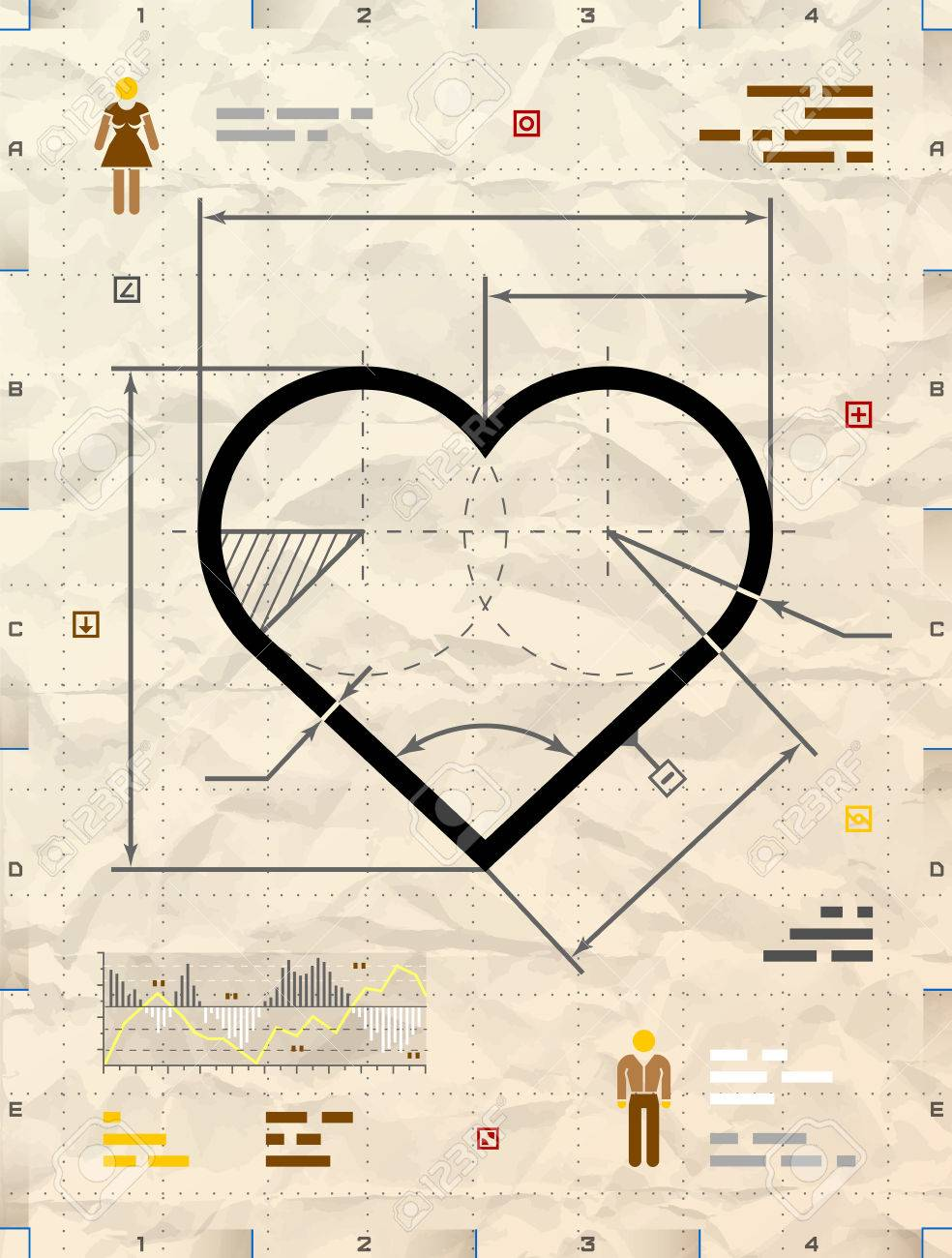 Heart sign as technical blueprint drawing drafting of heart heart sign as technical blueprint drawing drafting of heart symbol on crumpled paper qualitative malvernweather Gallery