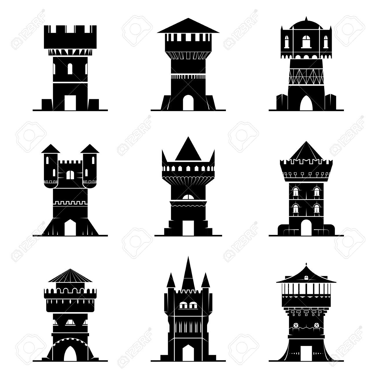 Set Of Black And White Tower Icons Vector Collection Of Symbols For