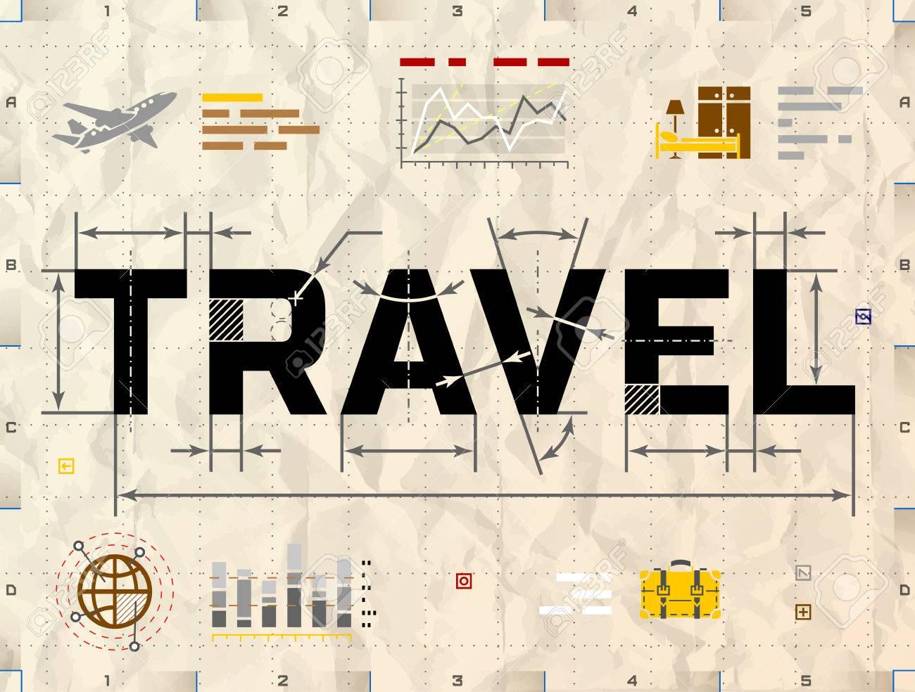 Word travel as technical blueprint drawing drafting of tourism word travel as technical blueprint drawing drafting of tourism on crumpled paper qualitative illustration malvernweather Choice Image