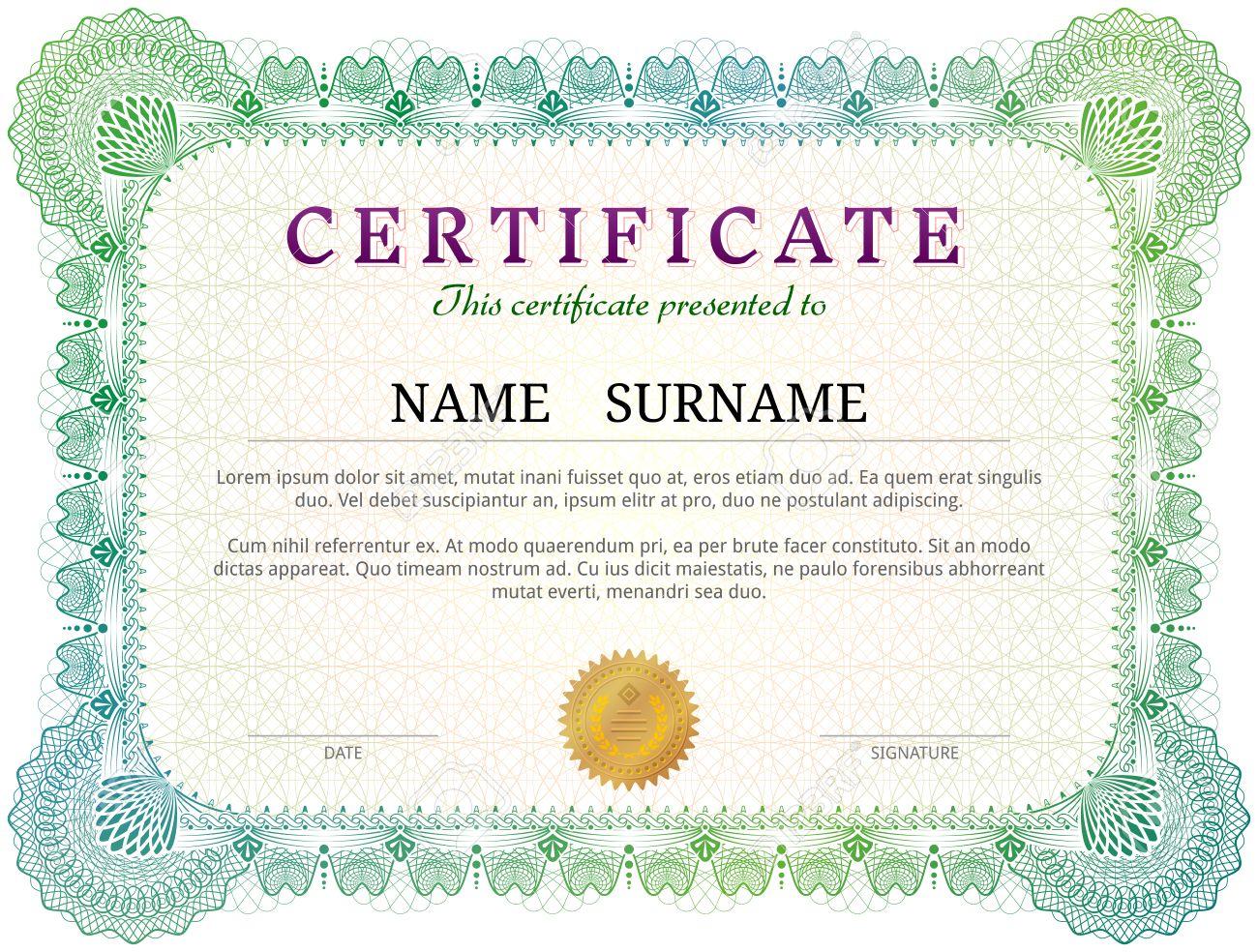 Certificate template with guilloche elements green diploma border certificate template with guilloche elements green diploma border design for personal conferment qualitative vector alramifo Gallery