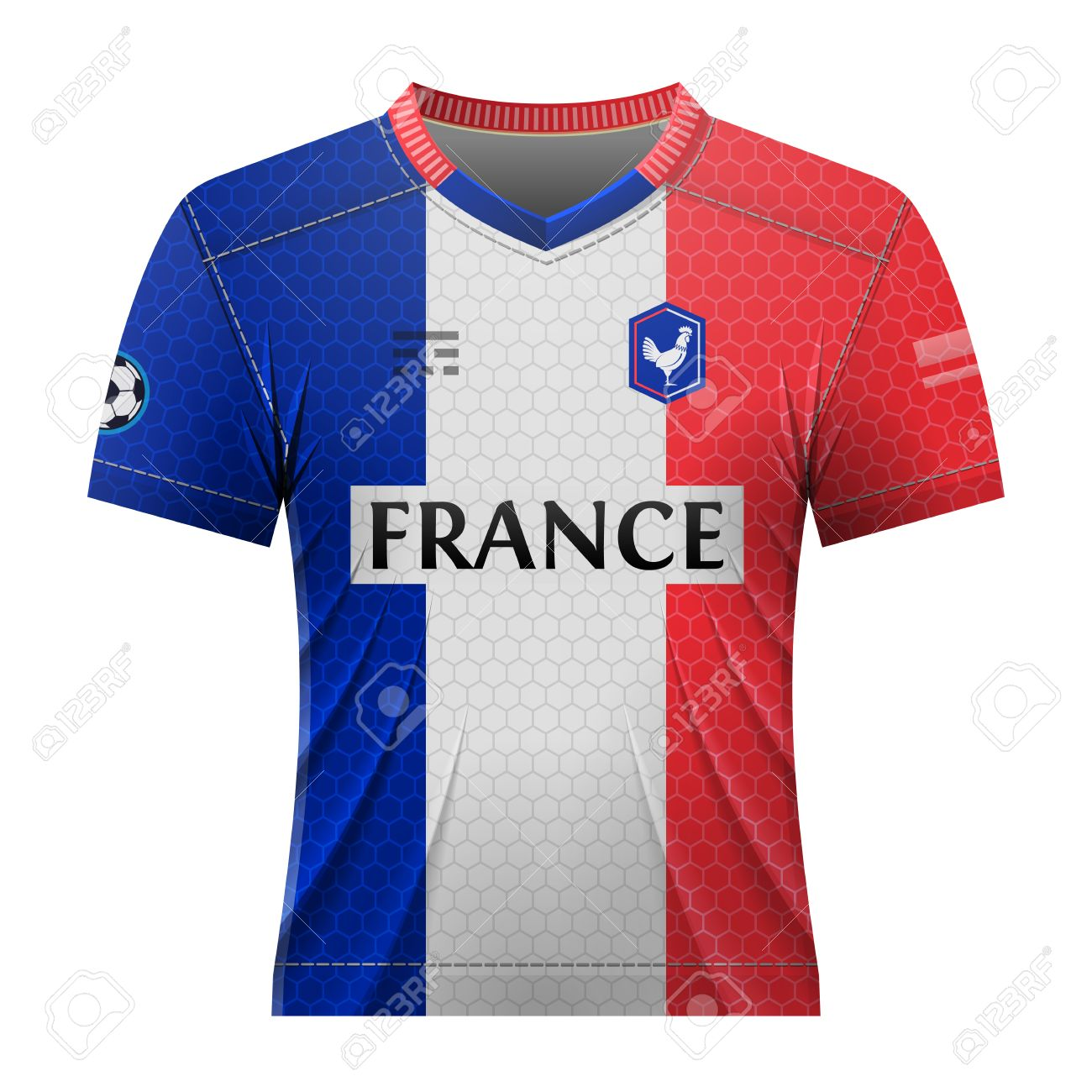 30bed5492 Soccer shirt in colors of french flag. National jersey for football team of  France.