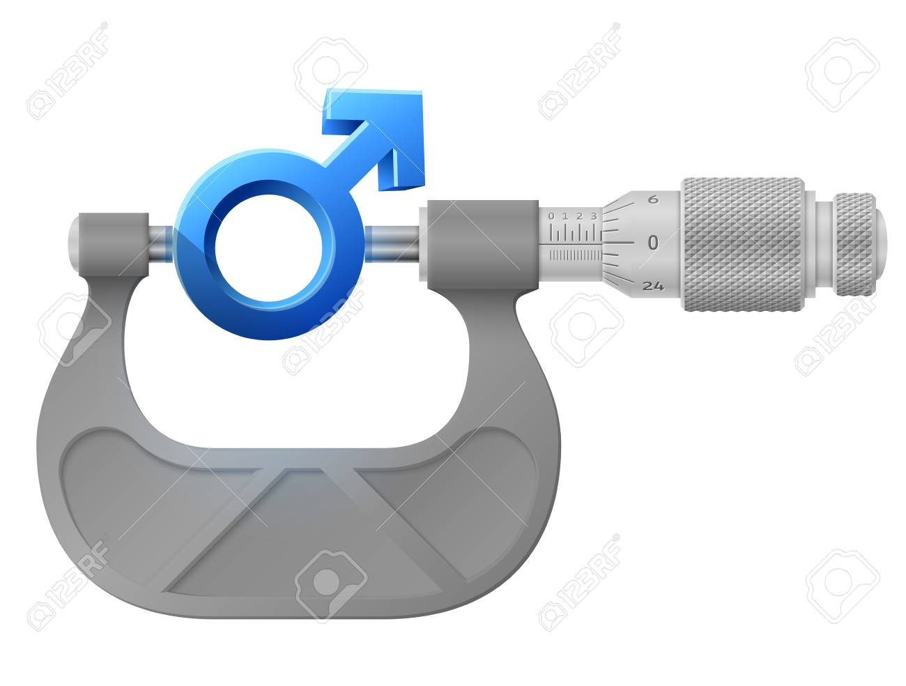 Horizontal Micrometer Measures Male Symbol Concept Of Man Sign