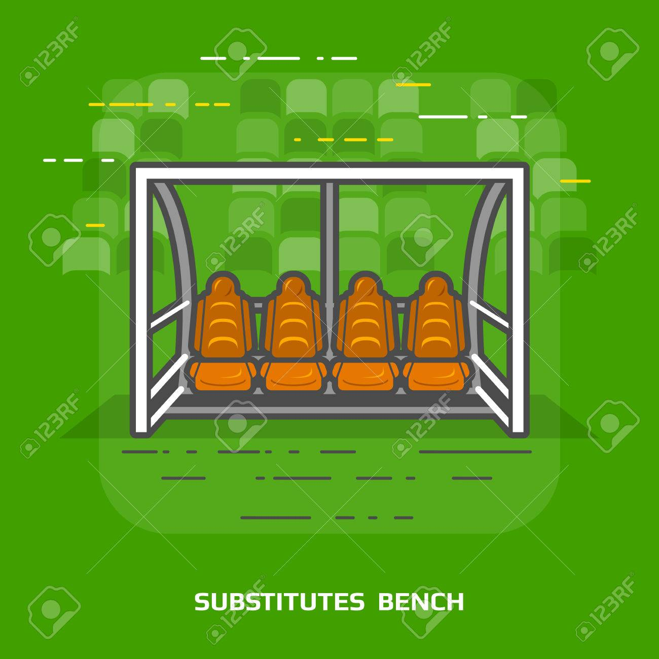 Flat illustration of soccer substitutes bench against green