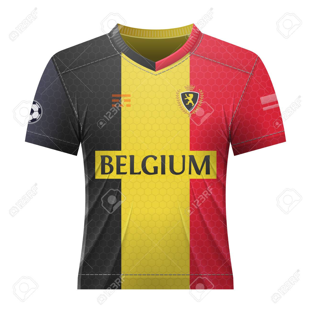 Soccer shirt in colors of belgian flag. National jersey for football team  of Belgium. fb04326f9