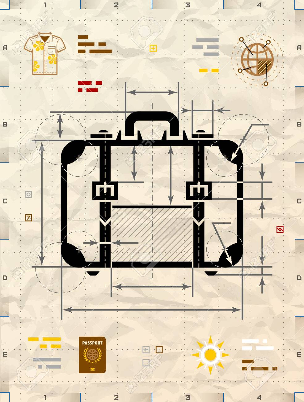 Suitcase silhouette as technical blueprint drawing drafting suitcase silhouette as technical blueprint drawing drafting of travel bag on crumpled craft paper malvernweather Choice Image