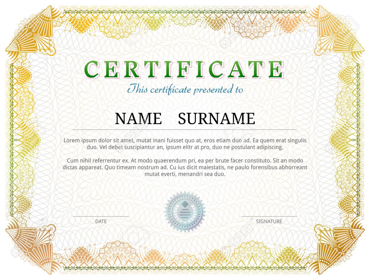 Certificate Template With Guilloche Elements Yellow Diploma - Patent certificate template